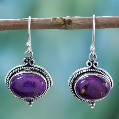 Sterling silver dangle earrings, 'Royal Purple' - Composite Turquoise and Sterling Silver Earrings