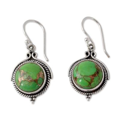 Sterling silver dangle earrings, 'Splendor' - Green Sterling Silver Earrings Fair Trade Jewelry