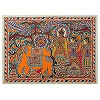 Madhubani painting, 'Krishna with Cows' - Madhubani painting