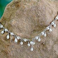 Cultured pearl waterfall necklace, 'Mystic Muse' - Unique Handcrafted Pearl Waterfall Necklace