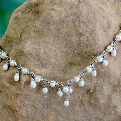 Cultured pearl waterfall necklace, 'Mystic Muse' - Cultured pearl waterfall necklace