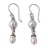 Cultured pearl dangle earrings, 'Mystic Muse' - Pearl Handmade Earrings with Sterling Silver India Jewelry