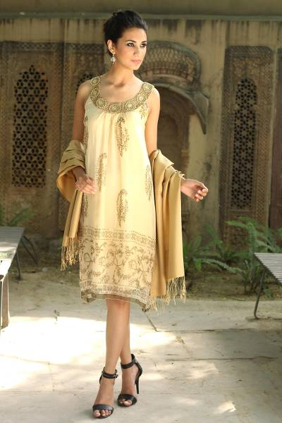Embellished dress, 'Gujarat Glitz' - Beige Beaded A-Line Golden Dress with Beadwork