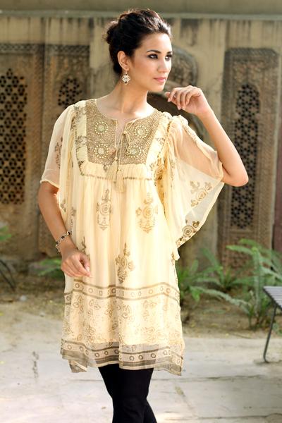 Embellished tunic, 'Jaipur Glitz' - Embellished Lined Chiffon Tunic Top with Block Prints