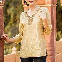 Cotton tunic, 'Golden Blossoms'