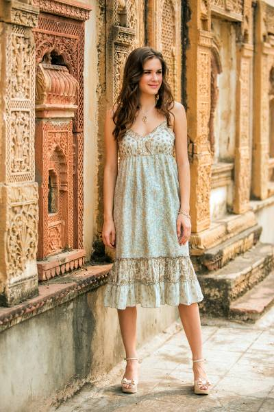 Cotton sundress, 'Summer in Jaipur' - Women's Cotton Floral Sundress with Beaded Accents
