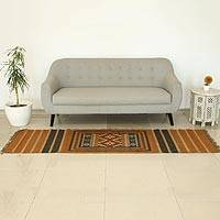 Jute runner rug, 'Jaipur Sunset' (2.5x8) - Hand Woven Jute Runner Rug from India (2.5x8)