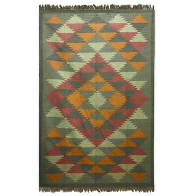 Jute rug, 'Kashmir Kaleidoscope' (6x9) - Jute Area Rug Natural Dyes Indian Dhurrie (6x9)