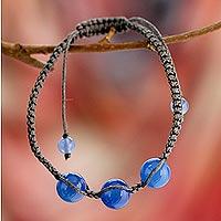 Blue chalcedony Shambhala-style bracelet, 'Harmony'