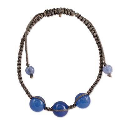 Blue chalcedony Shambhala-style bracelet, 'Harmony' - Blue Chalcedony Shambhala-style Macrame Bracelet from India