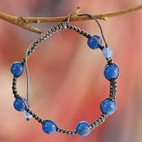 Blue chalcedony Shambhala-style bracelet, 'Blissful Harmony' - Cotton and Chalcedony Shamballa Jewlery