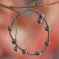 Hematite Shambhala-style bracelet, 'Blissful Relationships' - Artisan Crafted Hematite Indian Shambhala-style Bracelet