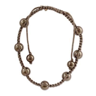 Artisan Crafted Hematite Indian Shamballa Bracelet