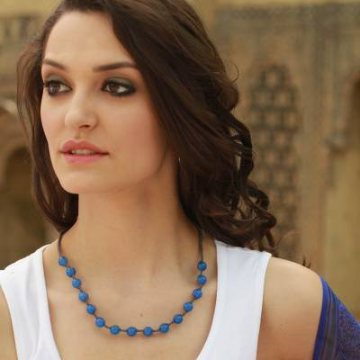 Chalcedony Shambhala-style necklace, 'Blissful Harmony' - Cotton and Chalcedony Beaded Shambhala-style Necklace