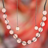 Rose quartz Shambhala-style necklace, 'Oneness' - Rose Quartz Hand Knotted Cotton Shambhala-style Necklace