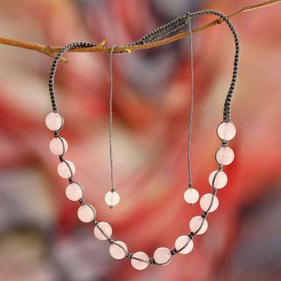 Rose quartz Shambhala-style necklace, 'Oneness' - Rose Quartz Hand Knotted Cotton Shambhala-style Necklace