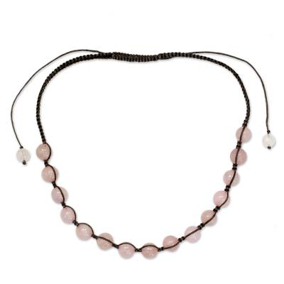 Rose Quartz Hand Knotted Cotton Shamballa Necklace