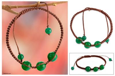 Beaded Shambhala-style bracelet, 'Protection' - Handcrafted Cotton Shambhala-style Green Onyx Bracelet