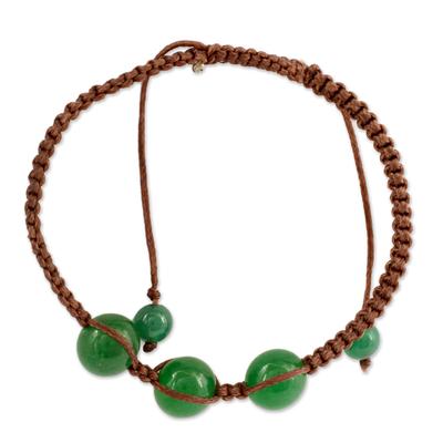 Handcrafted Cotton Shamballa Green Onyx Bracelet