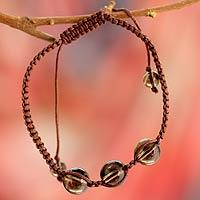 Smoky quartz Shambhala-style bracelet, 'Enduring Peace' - Unique Smoky Quartz Shambhala-style Bracelet