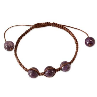 Cotton Beaded Charoite Bracelet from India