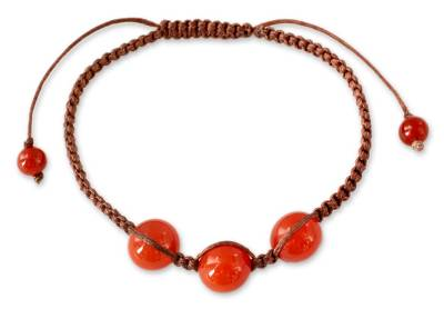 Artisan Crafted Red Onyx Shamballa Bracelet from India