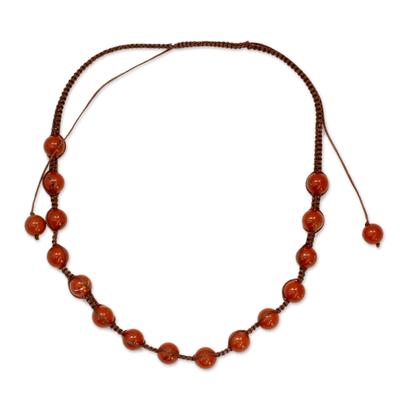 Shamballa Jewelry Jasper and Cotton Necklace