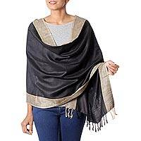 Silk shawl, 'Bhagalpur Cocoa' - Handcrafted Women's Fair Trade Silk Shawl from India