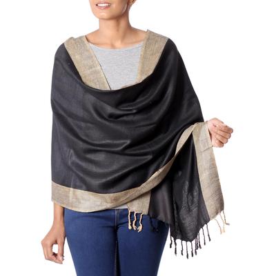 Silk shawl, 'Bhagalpur Cocoa' - Artisan Crafted Women's Silk Shawl
