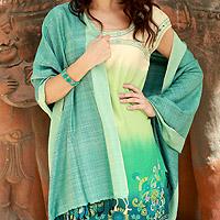 Silk shawl, 'Bhagalpur Aqua' - Silk Shawl Artisan Crafted Wrap