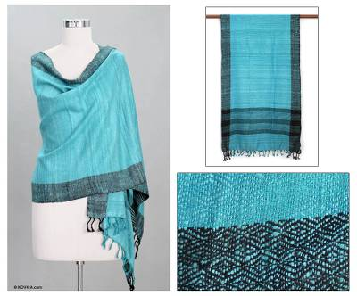 Silk shawl, 'Turquoise Bihar Diamonds' - Silk Patterned Blue Shawl from India