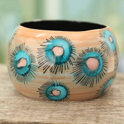 Wood bangle bracelet, 'Blue Anemone' - Handmade Floral Wood Bangle Bracelet