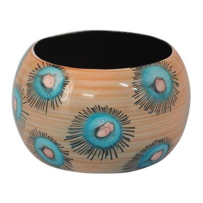 Handmade Floral Wood Bangle Bracelet