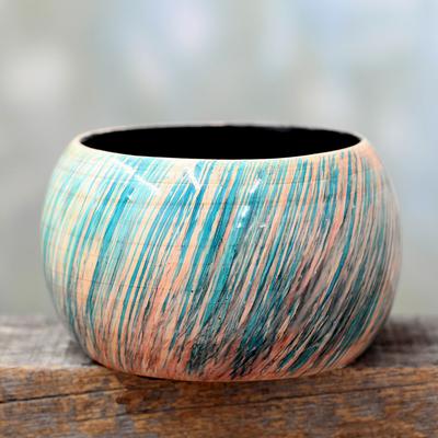 Wood bangle bracelet, 'Peach Breeze' - Artisan Crafted Wood Bangle Bracelet