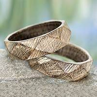 Wood bangle bracelets, 'Vintage Forest' (pair) - Wood Bangle Bracelets Hand Carved in India (Pair)