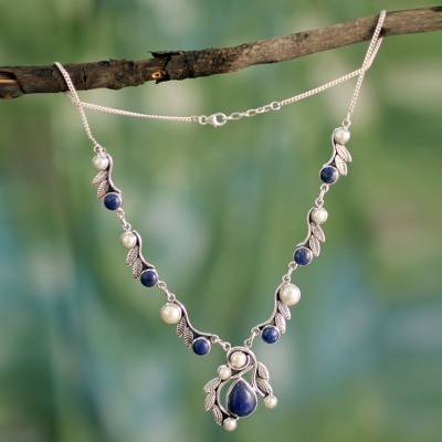 Cultured pearl and lapis lazuli pendant necklace, 'Tropical Fruit' - Pearl Lapis Lazuli and Sterling Silver Necklace from India