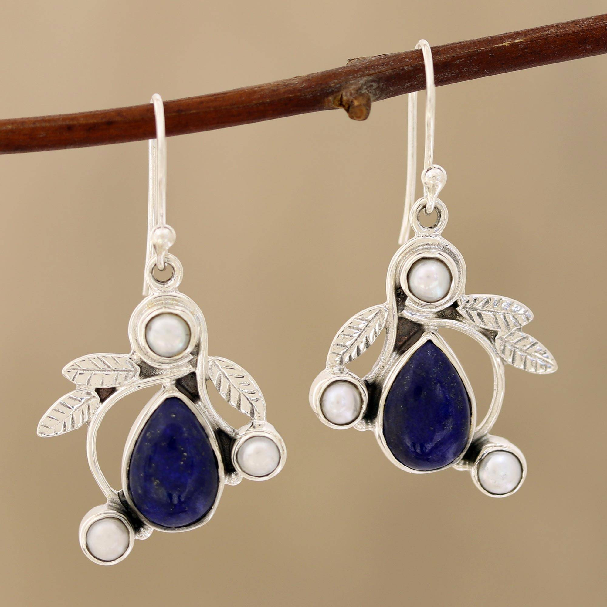 Lapis Lazuli Teardrop Earrings With Faceted Carnelian On Sterling Silver Artisan Hand Mad Ear Wires Gift For Her