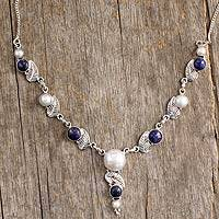 Cultured pearl and lapis lazuli Y-necklace, 'Tropical Berry' - Sterling Silver Lapis Lazuli Necklace with Cultured Pearls