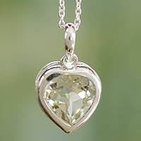 Prasiolite heart necklace, 'Verdant Heart' - Handcrafted Heart Shaped Prasiolite Pendant Necklace