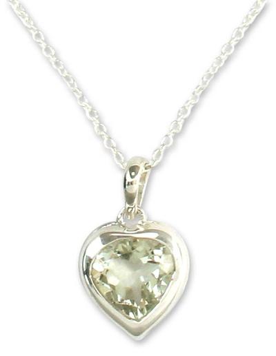 Prasiolite heart necklace, 'Verdant Heart' - Handcrafted Heart Shaped Prasiolite Pendant Necklace