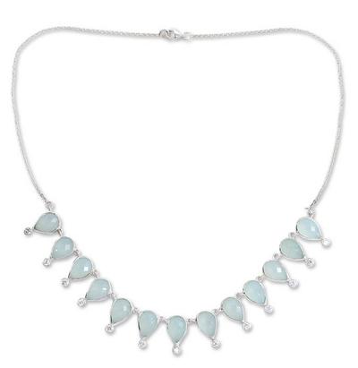 Chalcedony waterfall necklace