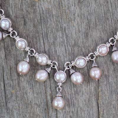 Cultured pearl waterfall necklace, 'Mystic Pink Muse' - Cultured pearl waterfall necklace
