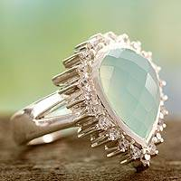 Chalcedony cocktail ring, 'Mughal Empress' - Chalcedony cocktail ring