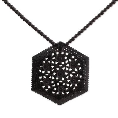 Ebony flower necklace, 'Mughal Enchantress' - Ebony Wood Necklace Handmade Indian Jewelry