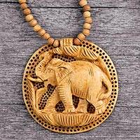 Hand carved wood necklace, 'Elephant Fortune' - Hand Crafted  Wood Necklace Indian Jewelry