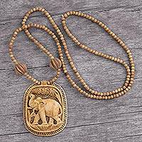Wood pendant necklace, 'Elephant Realm'