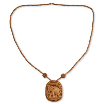 Wood pendant necklace, 'Elephant Realm' - Fair Trade Jewelry Wood Necklace from India