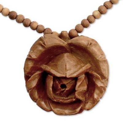 Wood flower necklace, 'Rose Heart' - Wood flower necklace