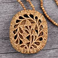 Wood flower necklace, 'Elephant Revelations' - Wood flower necklace