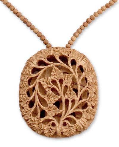 Wood flower necklace, 'Elephant Revelations' - Wood flower necklace